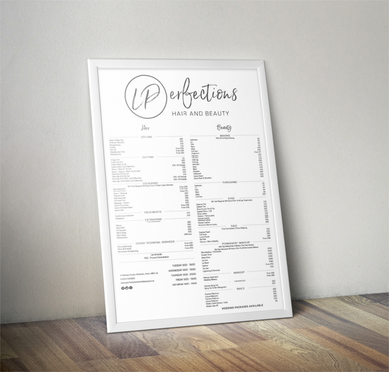 L Perfections Price list designs